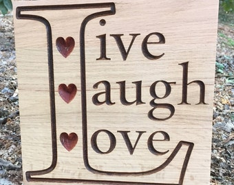"""Reclaimed wood personalized wall plaque """"Live,Love,laugh, wall sign, wood wall plaque"""