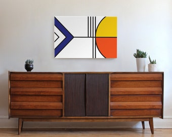 Large mid century modern art, geometric wall art, modern art, minimal print, de stijl, abstract art, canvas print, yellow, simple print