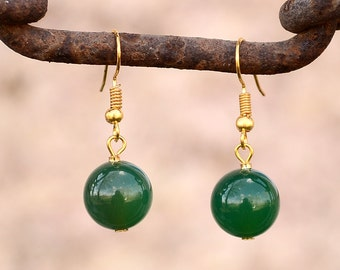 Green agate earrings, Agate earrings, Green agate earrings gold plated, Gold earrings agate, Agate drop earrings, Earrings green agate.