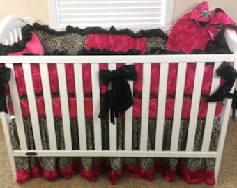 Leopard and Hot Pink 3D Roses, Hot Pink 3D Roses Baby Bedding, Leopard Bedding, Baby Bedding, 3pc or 4pc Bedding Set, Crib Bedding