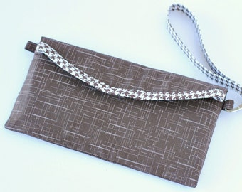 Chocolate Brown Houndstooth Clutch, Wallet, with Detachable Wristlet