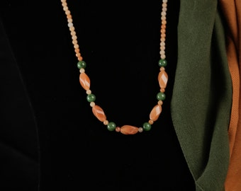 Aventurine oblong twist bead necklace
