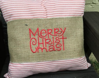 Christmas Pillow Wrap, Merry Christmas, Embroidered Pillow Wrap, Christmas Decoration, Pillow Band, Christmas Pillow, Holiday Decoration