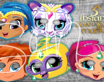 SALE 80% OFF w/Free thankyou card 5 Shimmer and Shine Masks for Birthday Party-Party Supplies-Digital file Shimmer & Shine