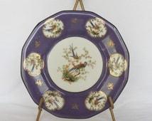 Royal Rudolstadt Beyer & Bock crown over B in shield mark PURPLE PLATE w/ bird flower design nightingale pheasant peacock