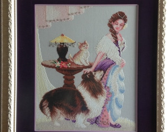 Cross stitch picture - Girl and her pets