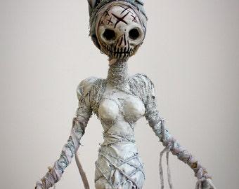 White Voodoo Witch - handmade ooak halloween horror sculpture
