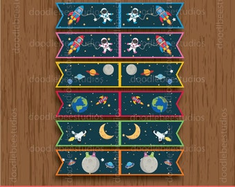 Outer Space Straw Flags, Outer SpacePrintables, Instant Download Straw Flags, Digital Outer Space Flags, Outer Space Party