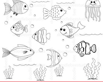 Fish Digital Stamps, Fishes Clipart, Fish Clipart, Fish Coloring Pages, Sealife Clipart, Sealife Digital Stamps, Underwater Clipart