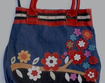 Flowers applique handbag/Blooming Flowers. Leather & Denim. Handbag.Shoulder bag