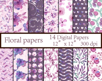 "Floral digital paper: ""FLORAL PAPER"" Floral Decoupage paper Floral Backgrounds Wedding Paper Flowers Paper Pack instant download"