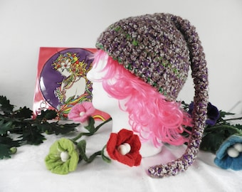 Brown, Purple and Cream Pixie Hat with Tail  Size M