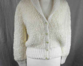 Vintage Hand Knitted Pure Wool Cardigan  Size  S - M