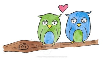 Love Birds Watercolour and Ink Print