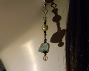 Magnesite and faux pearl, dangle, fish hook earrings - DOD28