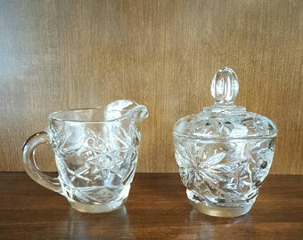 Anchor Hocking Prescut Clear Sugar Bowl with Lid and Creamer