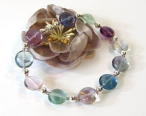 Rainbow Fluorite Bracelet, Semi-Precious Stones with Sterling Silver, Handmade Purple Beaded Bracelet with Magnetic Clasp, Pastel Colors
