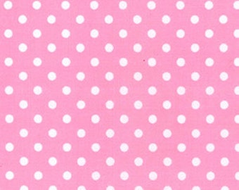 Pink with white spots  pattern polycotton