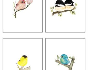 Bird painting, bird prints, baby bird, bird nursery decor, bird nursery, nursery set,  set or 4 baby birds