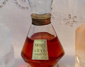 Jacques Fath, Fath's Love, 60 ml. of 2.03 oz. Flacon, Pure Parfum Extrait, 1961, Paris, France ..