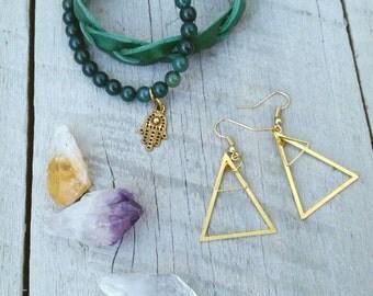 Triangle, brass mountain earrings