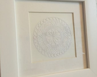 All white papercut mandala