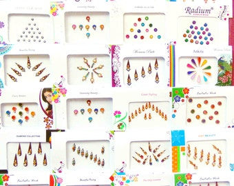 40 bindi packets - Full Packets -Bollywood Tika Tikka BINDIS / Temporary Tattos, Temporary tattoos, Bindi Jewelry forehead tikka Gems