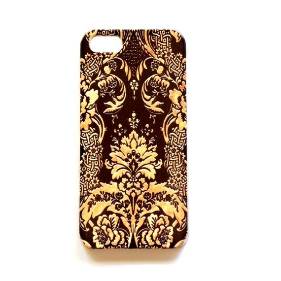 black and gold iphone 5s case black and gold iphone 5 5s gold damask iphone wrap 1209