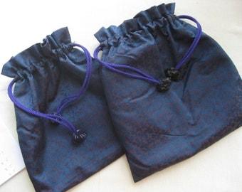 Dark Blue Kimono Kinchaku Pouch