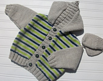 Hand knitted baby boys hoodie