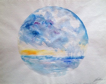 Circular Landscape Watercolour Painting Decorative Art for a Living Room Bedroom or Kitchen Watercolour Art