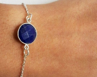 925 Sterling silver plated minimal stackable chain bracelet with a round blue lapis lazuli stone
