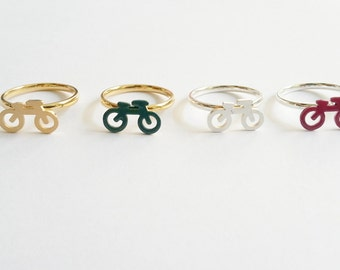 Minimal Gold or Silver plated green or pink bike ring