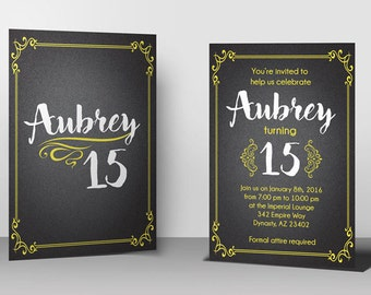 Black and Gold Showstopper Birthday Invitation w/RSVP