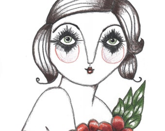 A5 - Art Print - 'Ivory' - Old School Tattoo style - Lady - Quirky Art