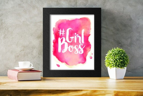Watercolour Girl Boss Print, #GirlBoss, Feminist Art, Printable Typography, Instant Download, 8x10 A3 11x14 16x20
