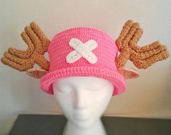 Chopper hat,pink chopper,one piece cartoon character hat,chopper crochet hat,anime crochet hat,crochet chopper cosplay hat,crochet anime hat