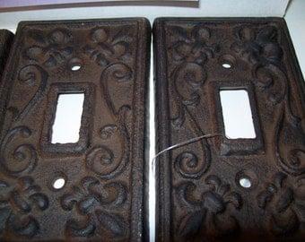 3 pc Fleur de Lis Cast Iron light plate-Vintage-Shabby Chic lightplates-Paris decor- cast iron plug cover-free shipping