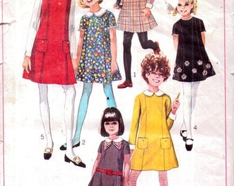 Genuine Vintage 1960s SIMPLICITY 7834 Funky and Bright '6' Girls Mini Dresses Sewing Pattern Lookx