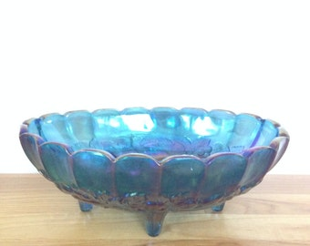 Vintage Indiana Carnival Glass Blue Footed Fruit Bowl