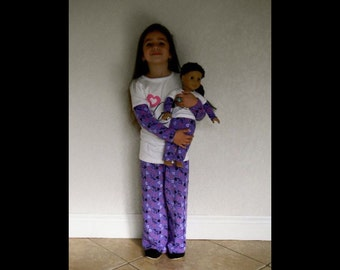"18"" Doll or American Girl Doll Purple matching pj's for child and American Girl, all sizes available!!"