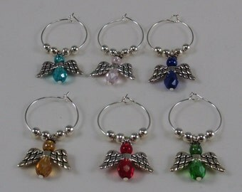 Angel Wine Glass Charms, Angel Wine Glass Markers