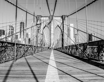 New York Wall Decor,instant download photography,Brooklyn Bridge photo, monochromatic picture,retro home decor,vintage image,black and white