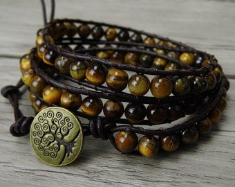 Yellow tiger eye bracelet boho gemstone bracelet natural stone wrap bracelet gems gypsy leather bracelet tiger eye wrap bracelet SL-0192
