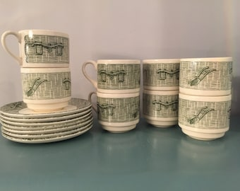 Vintage Currier and Ives Yoke and Plough Mugs 16 Piece Set