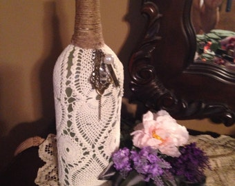 Up-cycled Wine Bottle, Country Rustic Wedding Decor, Cottage Chic Decor, Vintage Up- cycled Wine Bottle
