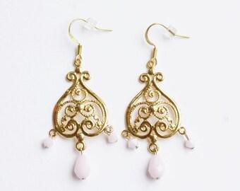 Gold pale light pink blush chandelier dangle drop earrings swarovski