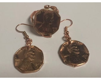 Cooper penny set ring and earrings