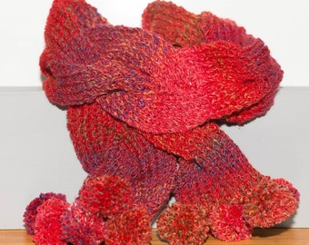 Plaited scarf - red