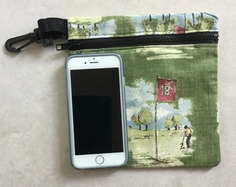 Golf Motif Accessory Bag. 7x7.5 inches. Unavailable in stores! Phone not included.